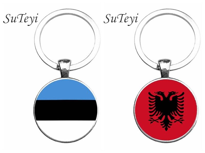 SUTEYI Fashion Flag Pattern Art Key Ring Albania/Estonia Flag Key Chain Jewelry Glass Cabochon Pendant Car/Handbag Keychain