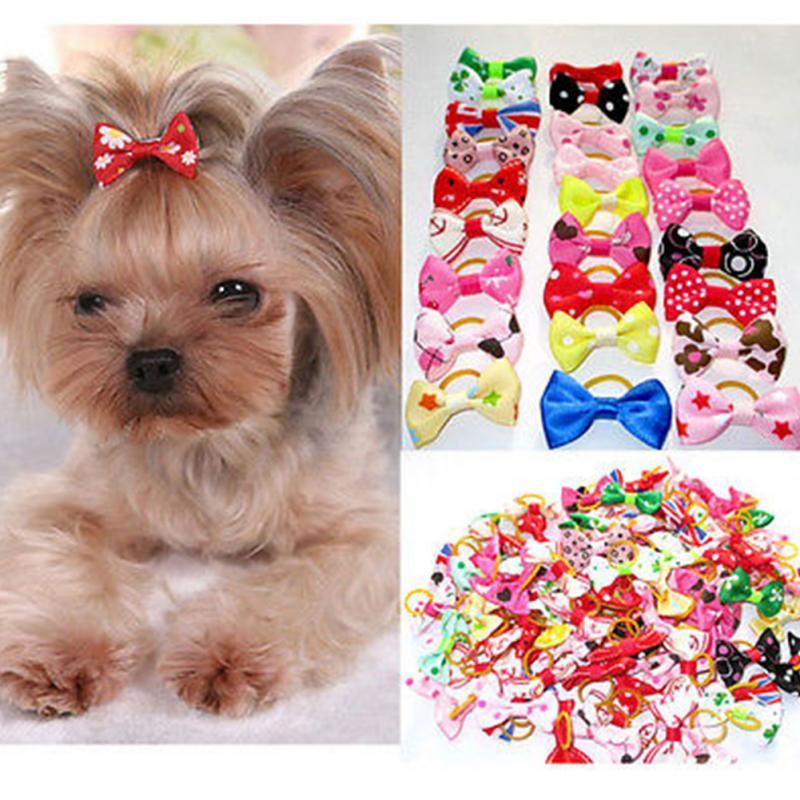 10PCS Bowknot Cute Dog Rubber Band Handmade Pet Grooming Accessories Mixed Ribbon Hair Bow Color Random