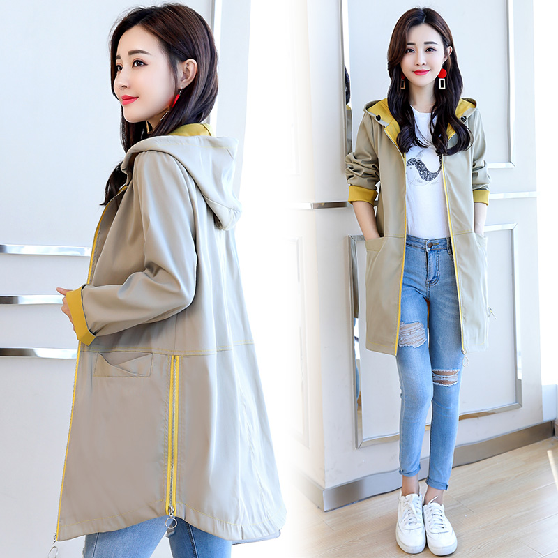 Large Size Women Mid-length   Trench   Coat 2019 Spring Autumn New Outwears Female Long-Sleeved Zipper Solid Pockets Windbreake Top