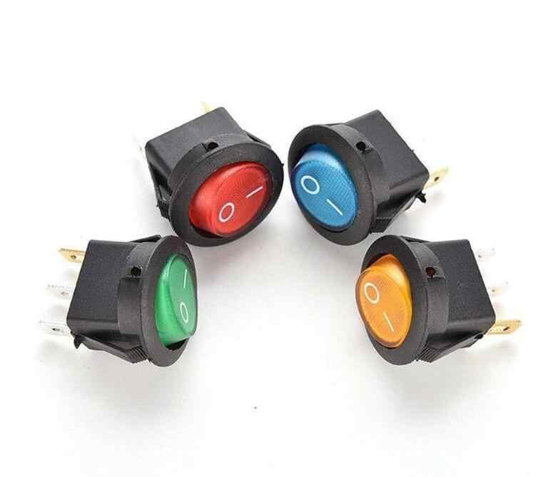 5PCS 12V 220V LED illuminuted rocker switch 20A 12V push button switch Car  button lights ON/OFF Round light Switch