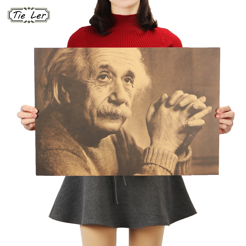 TIE LER Imagination Is More Important Than Knowledge Albert Einstein Retro Poster Kraft Paper Decorative Wall Stickers 51x36cm