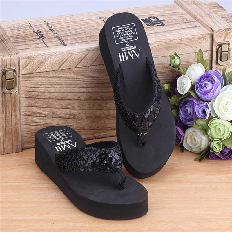 bfdd987bdbbc ... New 1Pair Comfortable Summer Soft Women Wedge Sandals Sequin Thong Mid  Heels Platform Slippers