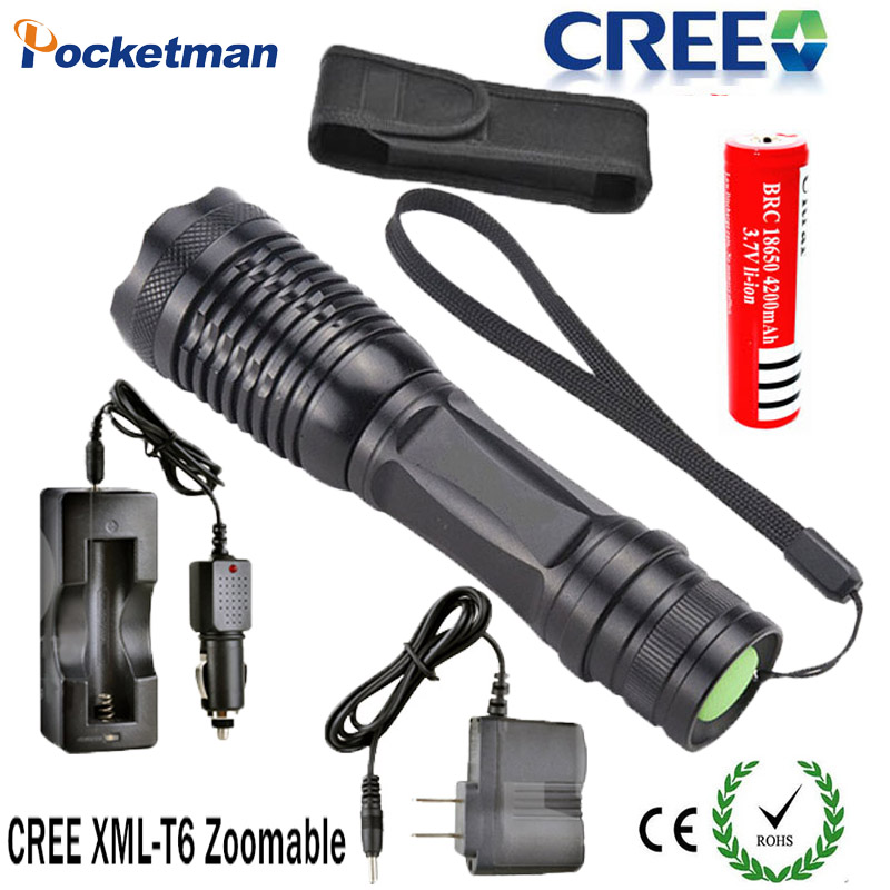 3800LM LED Flashlight CREE XM-L T6 Torch lanterna de Zoomable lampe torche Powerful Flashlight with AC/Car Charger 18650 battery zk35 cree xm l 3800 lm q5 led flashlight torch zoomable light black led bicycle light with battery and charger holder