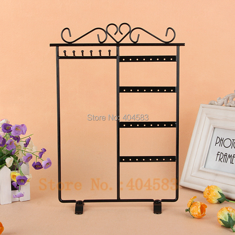 Black Painted Steel Earring Display Stand Necklace Display Stand Jewelry Display Holder 6 hooks 32 holes
