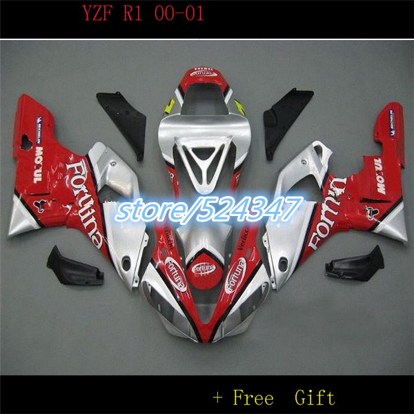 Nn-fortuna carénages fit pour YZF R1 2000 2001 année modèle rouge argent corps kit YZFR1 00 01 carrosserie carénage kit pièces pour Yamaha