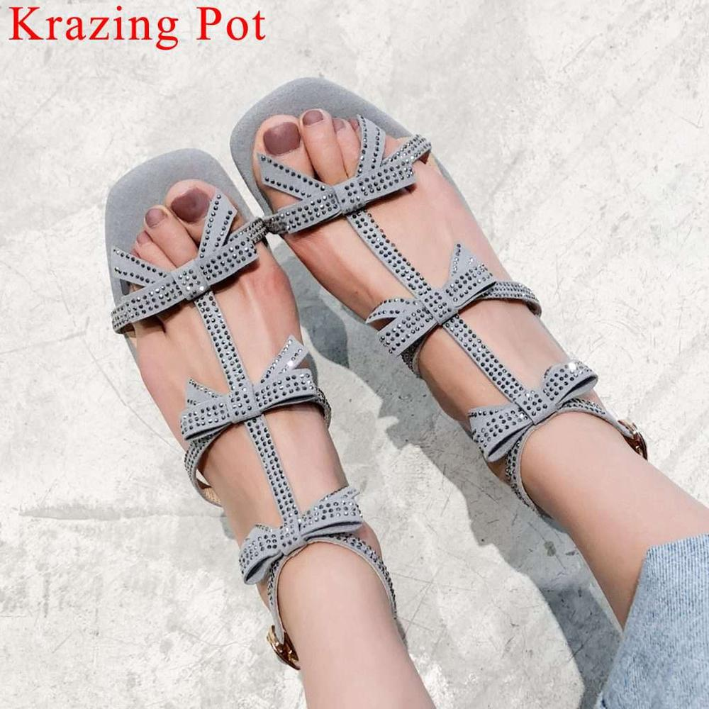 Krazing Pot princess style chunky med heels buckle strap women sandals peep square toe butterfly-knot decoration fairy shoes L26Krazing Pot princess style chunky med heels buckle strap women sandals peep square toe butterfly-knot decoration fairy shoes L26