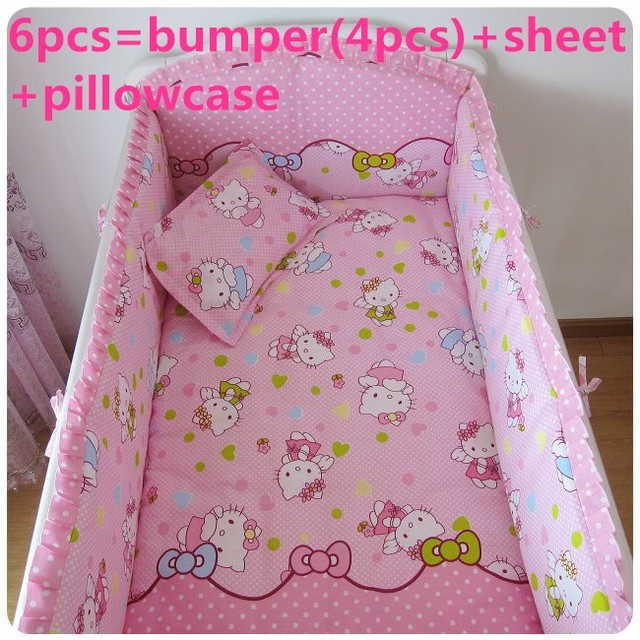 Promotion! 6PCS Hello Kitty  Baby Bedding Set Baby cradle cot bedding set cunas crib Sheet ,include(bumpers+sheet+pillow cover)