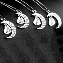 Little/Big/Baby/Middle/Sister I LOVE YOU TO THE MOON AND BACK Silver Women's Jewelry Necklace Pendant Christmas's Sister Gift(China)