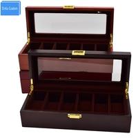 Watch Box Wooden Black/Brown Kol Saati Watch Case Cajas de Regalo Watch Men/Women 6 Grids Gift Watches Holder Boxes Saat Kutusu