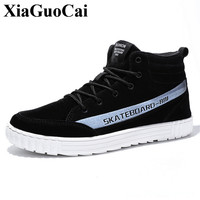 New Fashion High Top Casual Shoes Men Spring Lace Up Flat Shoes Height Increasing High Quality