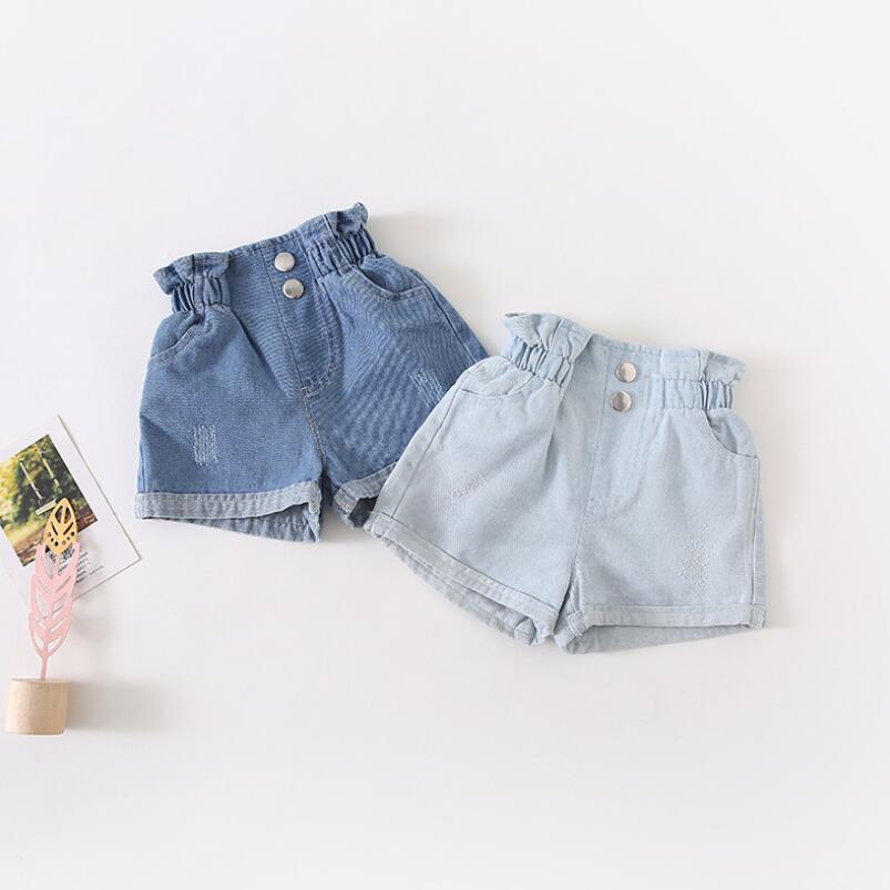 Onefa Toddler Baby Boys Girls Letter Print Vest Tops+Hole Denim Jean Shorts Outfits