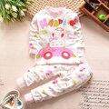 2015 Nuevo bebé ropa de algodón ropa de los niños Dulces White Dot Niños Niñas Amor Ropa de Dormir Pijamas ropa de Dormir Traje de oso Mono
