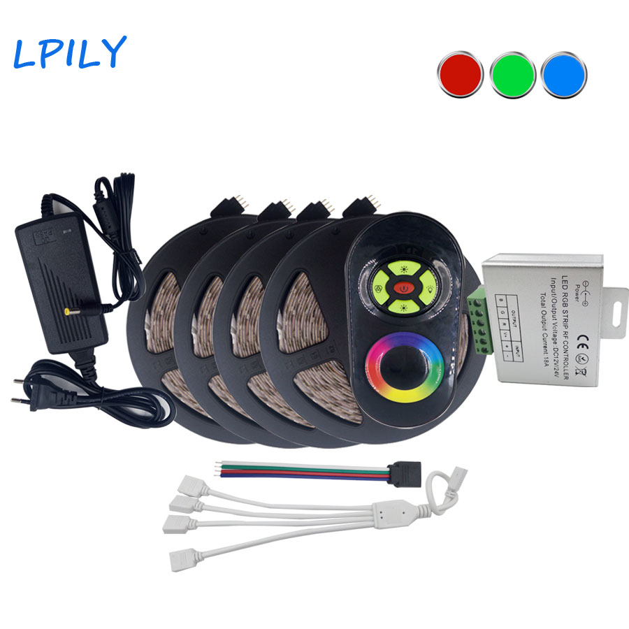 LPILY Waterproof RGB LED Strip 3528 2835 20M RF Touch Wireless dimmer Remote Controller 12V 6A Power Adapter Flexible rgb tape m3 m4 5a m3 touch rf remote with m4 5a cv receiver led dimmer controller dc5v dc24v input 5a 4ch max 20a output