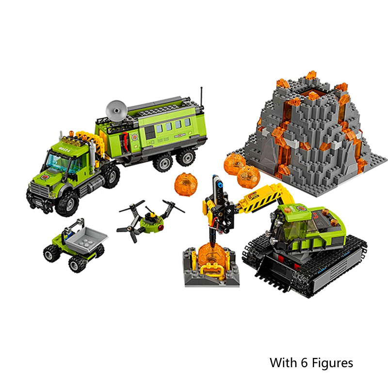 Lepin 02005 City Series The Volcano Exploration Base Truck 60124 Building Blocks Brick Educational Toys For Child Gift Legoingse lepin 02012 774pcs city series deepwater exploration vessel children educational building blocks bricks toys model gift 60095