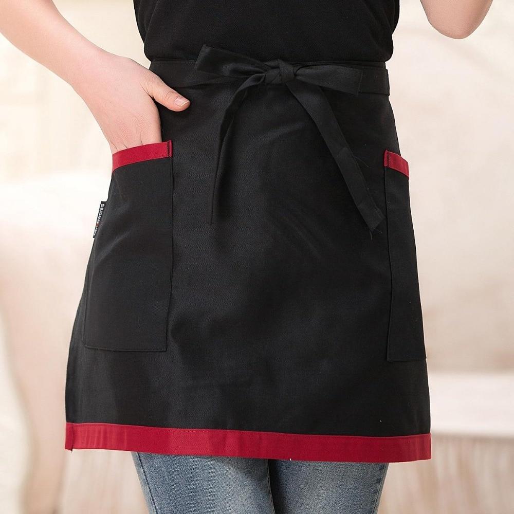 Free Shipping Cafe Restaurant Big Pocket Short Waitress Waist Working Apron