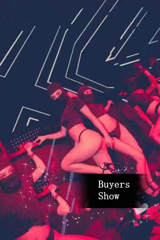 Sexy negro Tops cortos máscara de 3 piezas Club nocturno mujeres conjunto Bar Club fiesta baile DJ equipo de actuación traje de baile