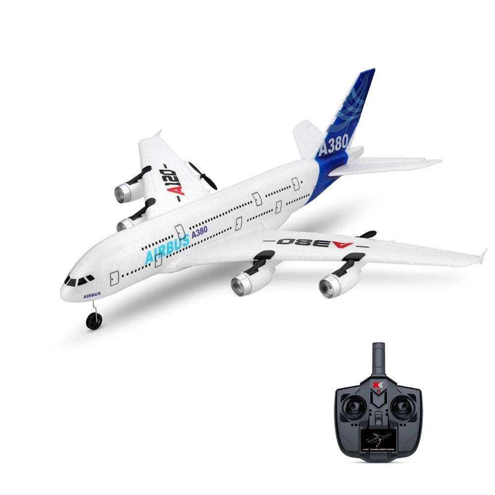 Oyuncaklar ve Hobi Ürünleri'ten RC Uçaklar'de WLTOYS A120 A380 Airbus 510mm Kanat Açıklığı 2.4 GHz 3CH RC Uçak Sabit Kanat RTF Modu 2 Ile Uzaktan Kumanda Ölçek aeromodelling'da  Grup 1
