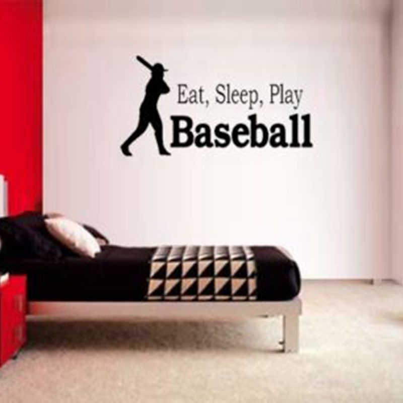 Baseball Wall Sticker Sports Decal Posters Quote Lettering Vinyl Decals Pegatina Quadro Parede Decor Mural