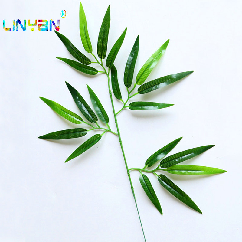 20pcs Artificial Bamboo Leaf Plants Plastic Tree Branches