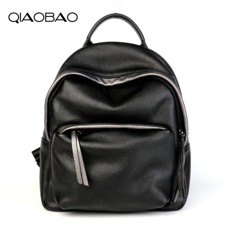 QIAOBAO Backpack Female Genuine Leather Women Backpacks School Bag Black Zipper Multifunctional Leather Back pack on Shoulder