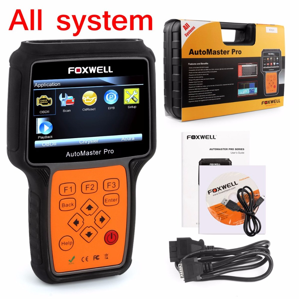 Automotive scanner in portuguese foxwell nt624 obd2 airbag crash data reset transmission abs srs oil reset car diagnostic tool