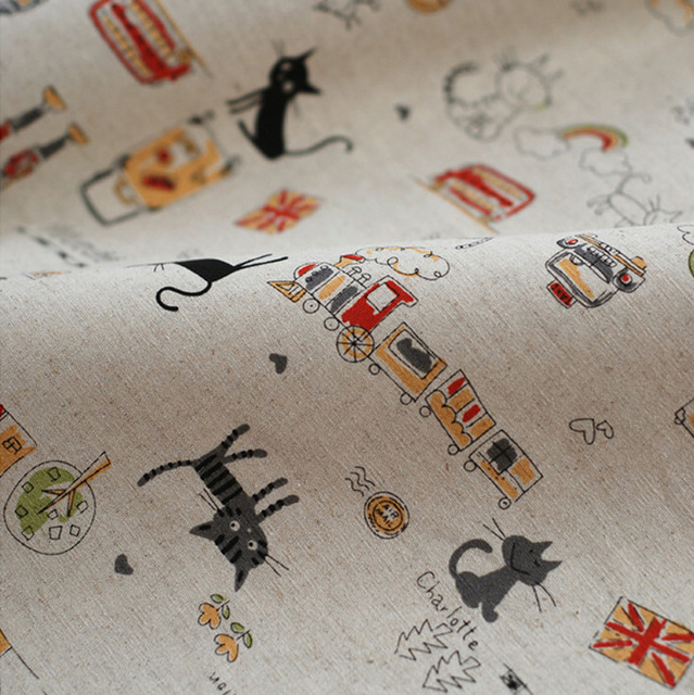 155*50cm Linen fabric for patchwork vintage Cartoon Cat textile fabric Sewing crafts material for clothing telas Home cover