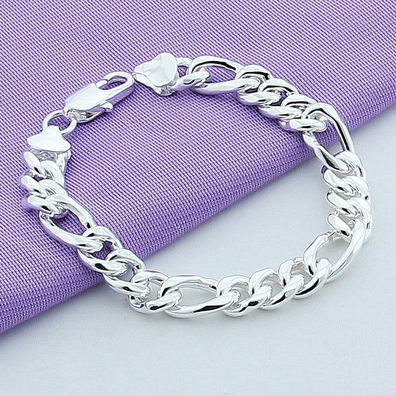 925 Silver Color Cuban Links & Chains Bracelet For Men Jewelry Bracelet Men Accessory Wholesale