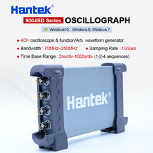 Hantek 4CH USB PC Oscilloscopes 1GSa/s 2mV-10V/DIV 250MHz handheld oscilloscope 200MSa/s DDS Function/Arb Waveform Generator(China)