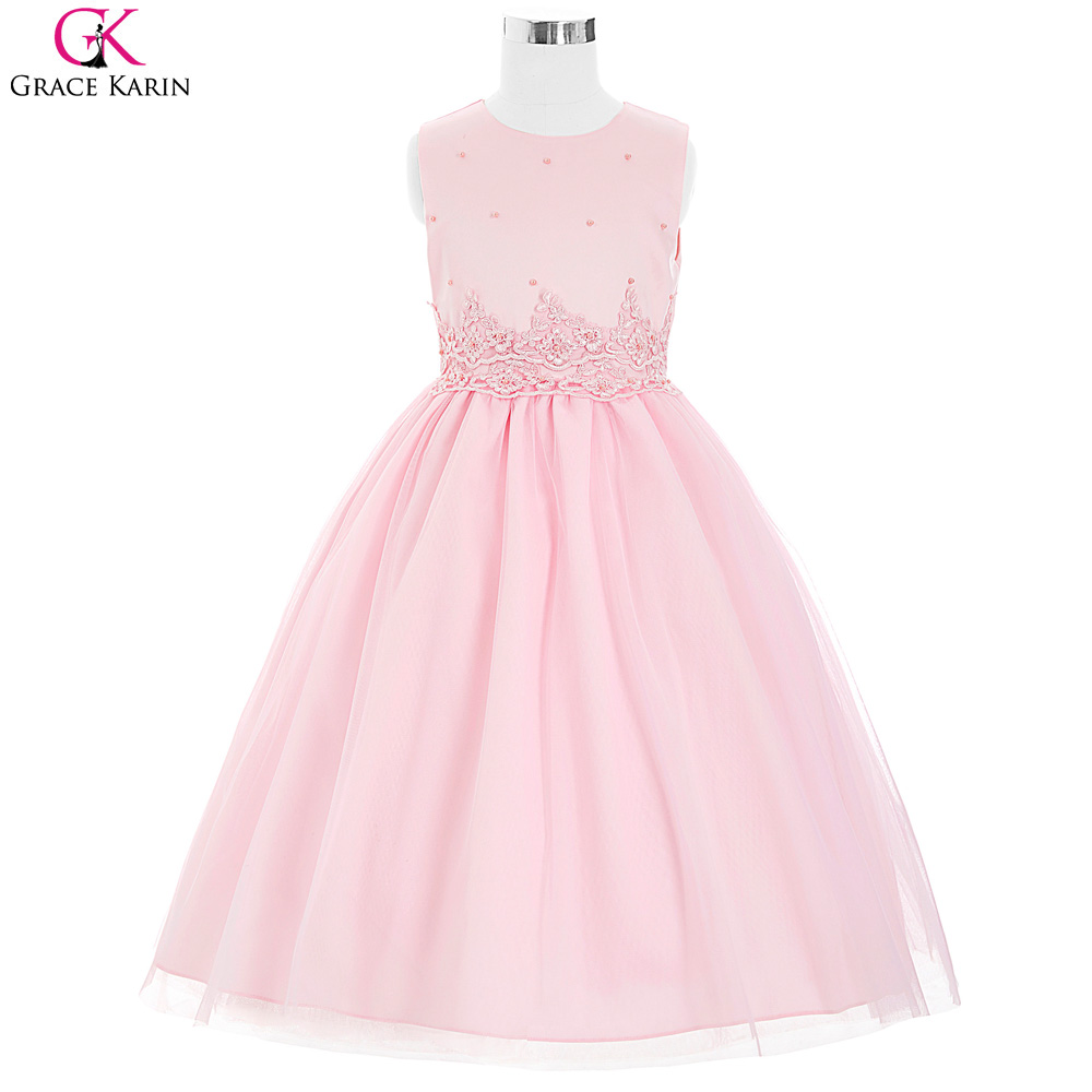 Buy ivory pink flower girl dresses for wedding grace karin for Little flower girl wedding dresses