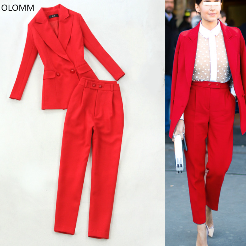 Women Business Suits Formal Office Suits Work Women Clothes 2019 Autumn New Long Red Blazer Joker High Waist Trousers Two-piece