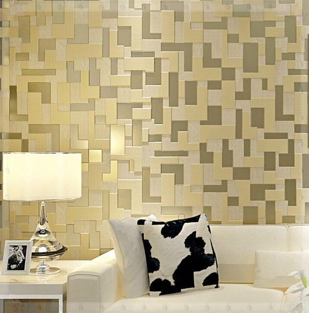 Simple 3D stereo bedroom living room TV setting wall wallpaper woven ...