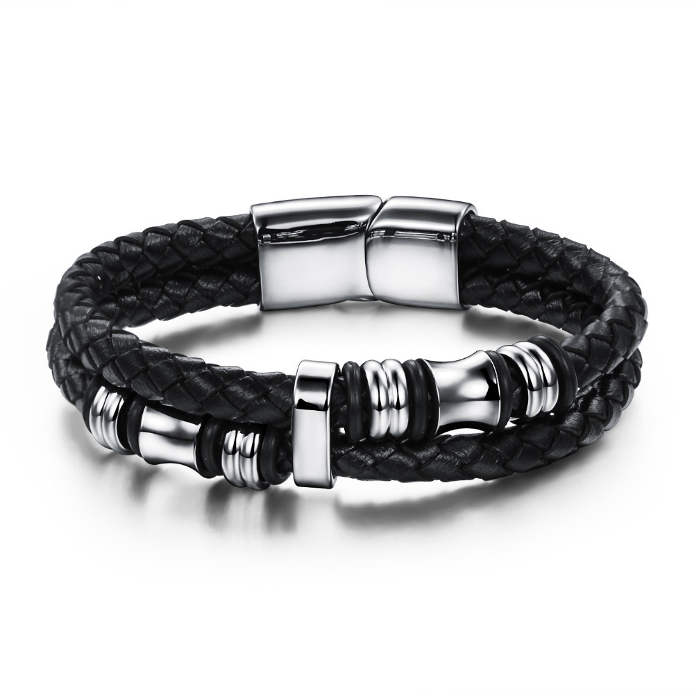 2017 Fashion Black Double Layer Braided Leather Bracelet Men Stainless Steel Silver Bracelets Bangles With Magnetic Buckle Fl911 In Charm From