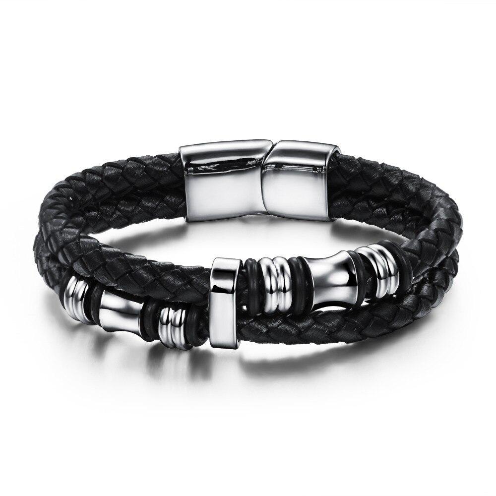 2017 Fashion Black Double Layer Braided Leather Bracelet Men