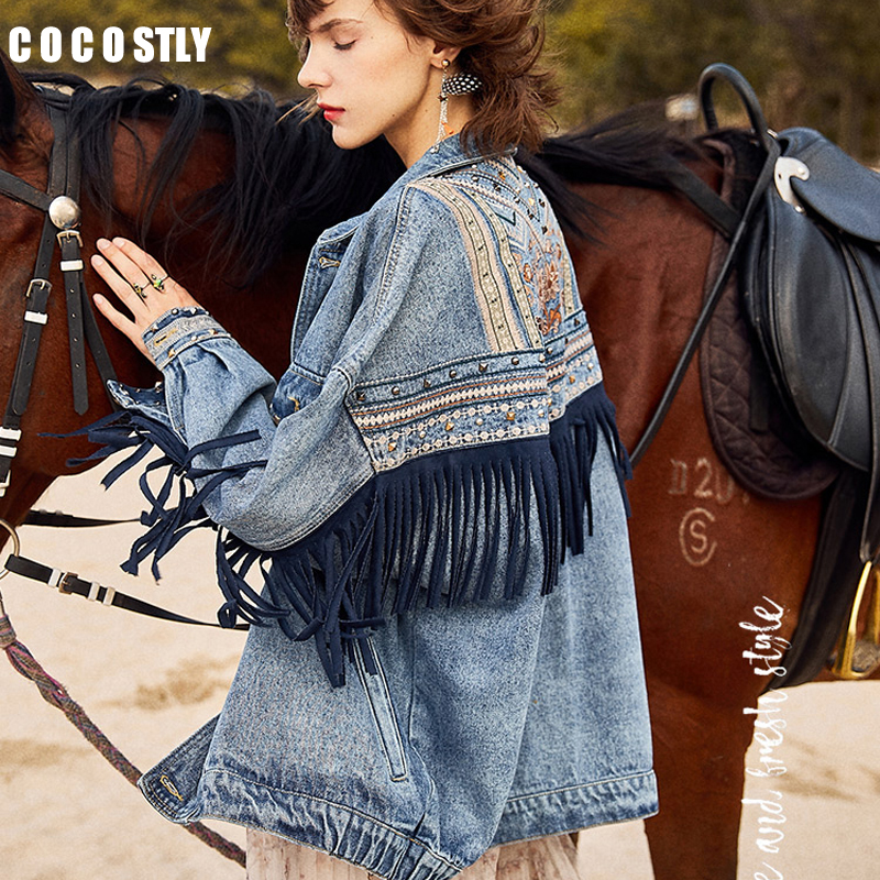 Denim Women Jacket New Spring Vintage Floral Embroidery Suede Fringe Loose Coat Long Sleeve Outerwear Female Boho Jacket