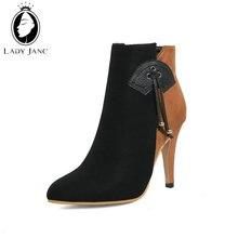 ae946cdf0 سيدة جين الشتاء حذاء من الجلد للنساء الخنجر أشار تو سوبر عالية الكعب 10  سنتيمتر الدافئة داخل الأحذية 2020 زائد حجم 45 أحذية