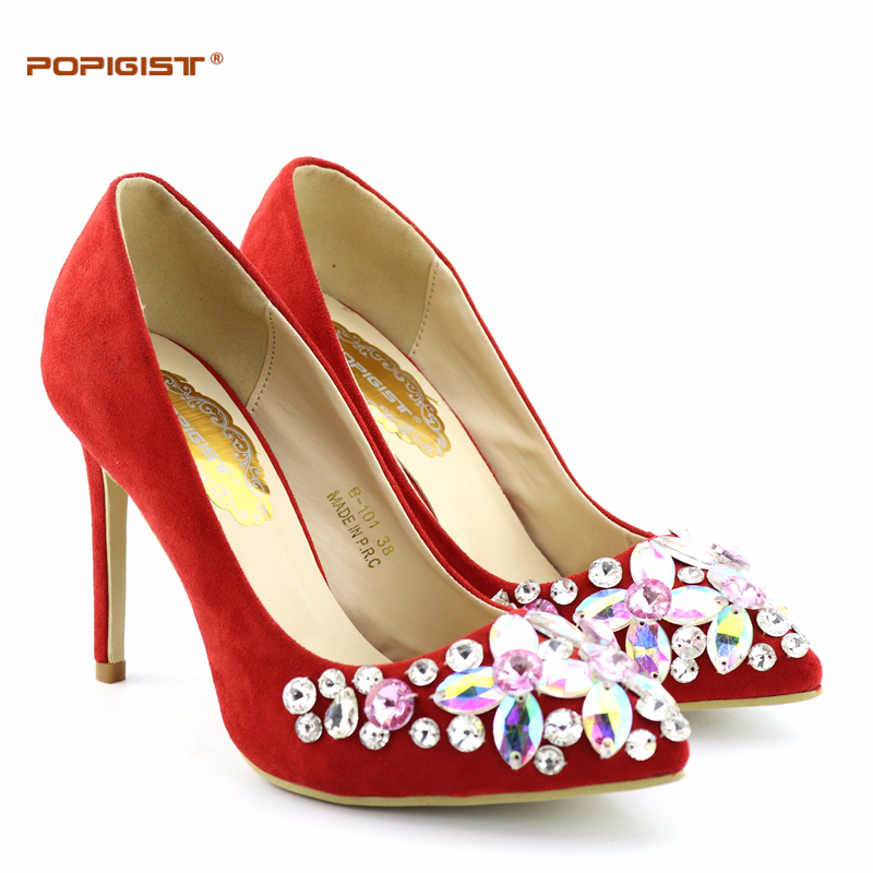 Wedding Red Bridal Shoes Without Bag Pumps High Heels -6874