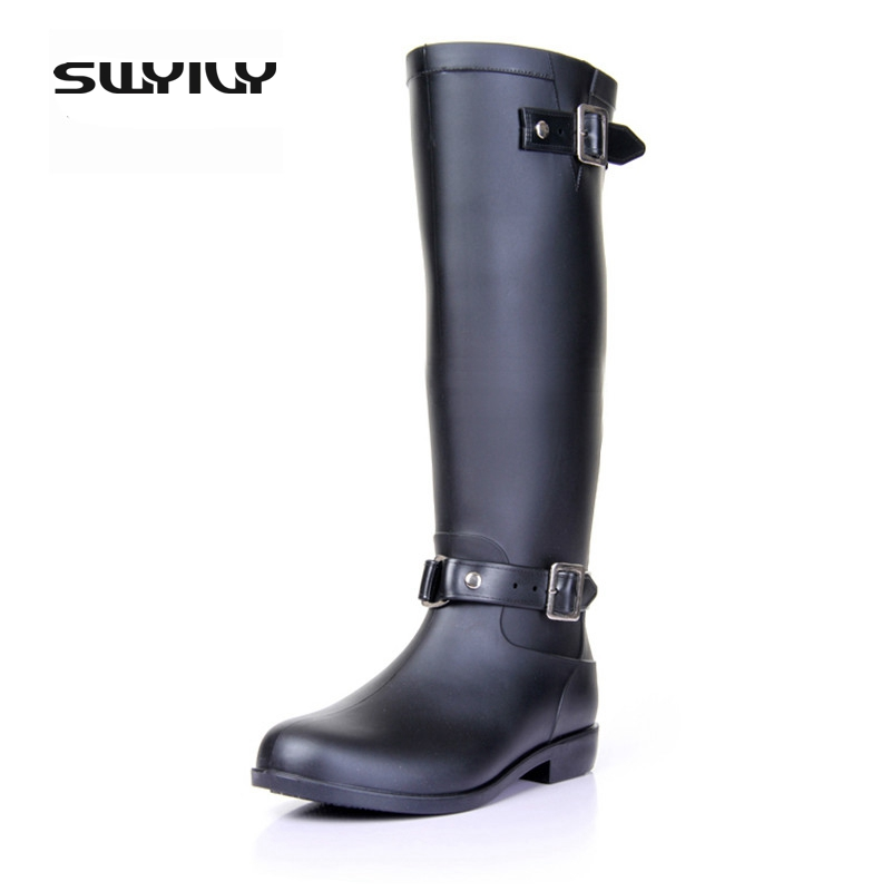 2017 Riding Style Buckle Rain Boots Woman High Red/Black Zipper Cool Equestrian Waterproof Rubber Shoes Add Warm Winter Liner rubber high red zipper boots horse riding gumboots rainboots women rain boots botte de pluie stivali donna wellies bot