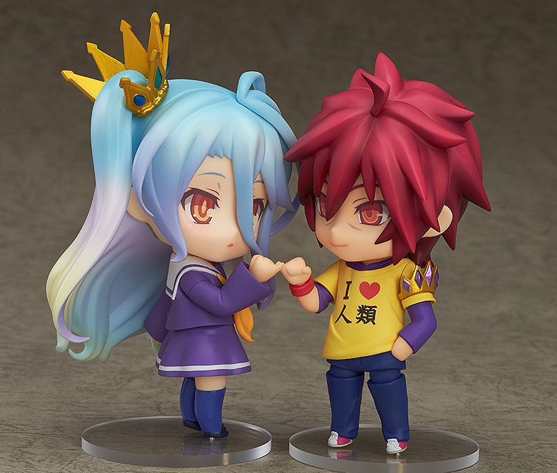 Anime Nendoroid Sora No Game No Life 652 & Shiro 653 PVC Action Figure Collectible Modelo Brinquedos 10 cm