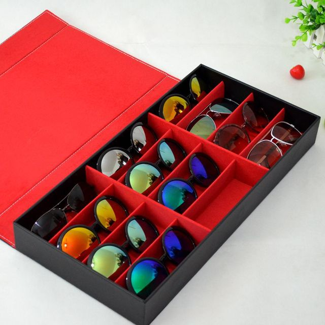 Black And Red Desktop Organizer Storage Sunglasses Display Case For 12  Pairs Of Eye Glasses Holder