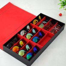 Black And Purple Desktop Organizer Storage Sun shades Show Case For 12 Pairs of Eye Glasses Holder