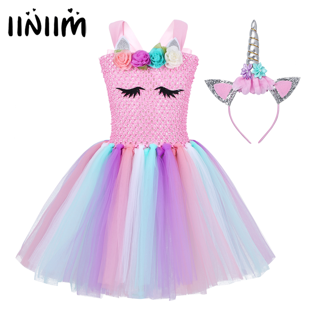 Flowers Girls Princess Cosplay Dress Children's Tutu Halloween Costume for Kids Dress Up Princess Fancy Party Carnival Clothing