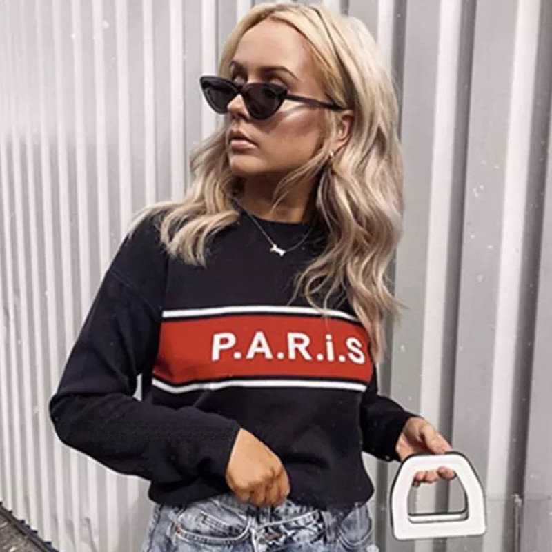 Wool Sweater Pullover Jumper Women Winter Warm Sweater Letter Paris High Quality Brand Knitwear 2019 New Navy Blue Color