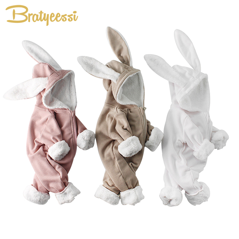 Rabbit Winter Baby   Rompers   for Boys Jumpsuit Plush Lining Baby Girl   Romper   Long Ears Hooded Baby Onesie Toddler Baby Clothes 1PC