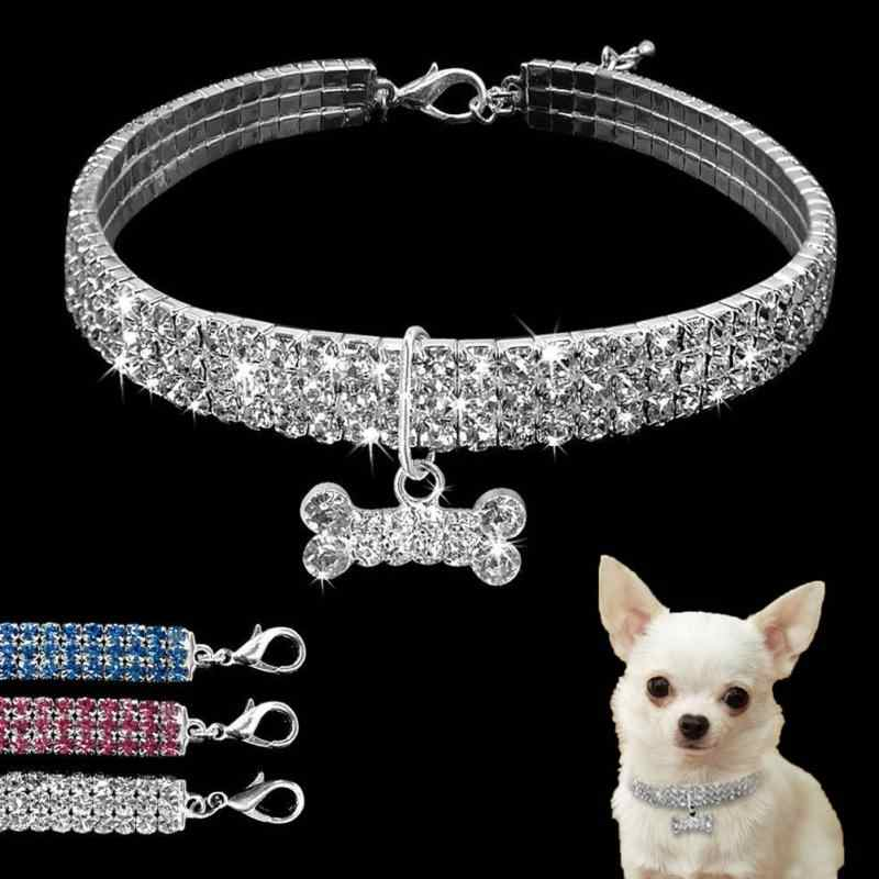 3c3a84a4f95 Beautiful Alloy Bling Rhinestone Dog Necklace Collar Pendant for Pet Puppy  small dogs party decor