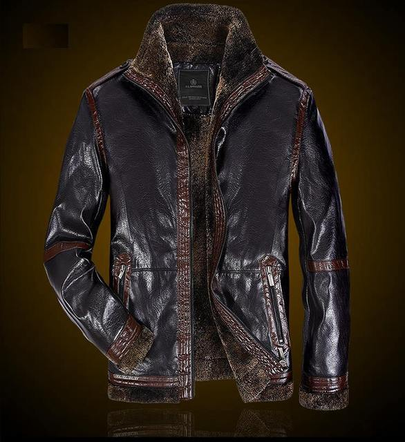 2016 Winter Men Leather Jacket Cool Male Fur Stand Collar Thickening Windbreak Jackets Leather Coat, jaqueta de couro masculina
