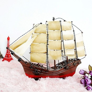 Large Metal Wood Vintage Queen Ship Sailing Boat Model Home Decoration Gift Sail Boat Sailing 35.5*8*28