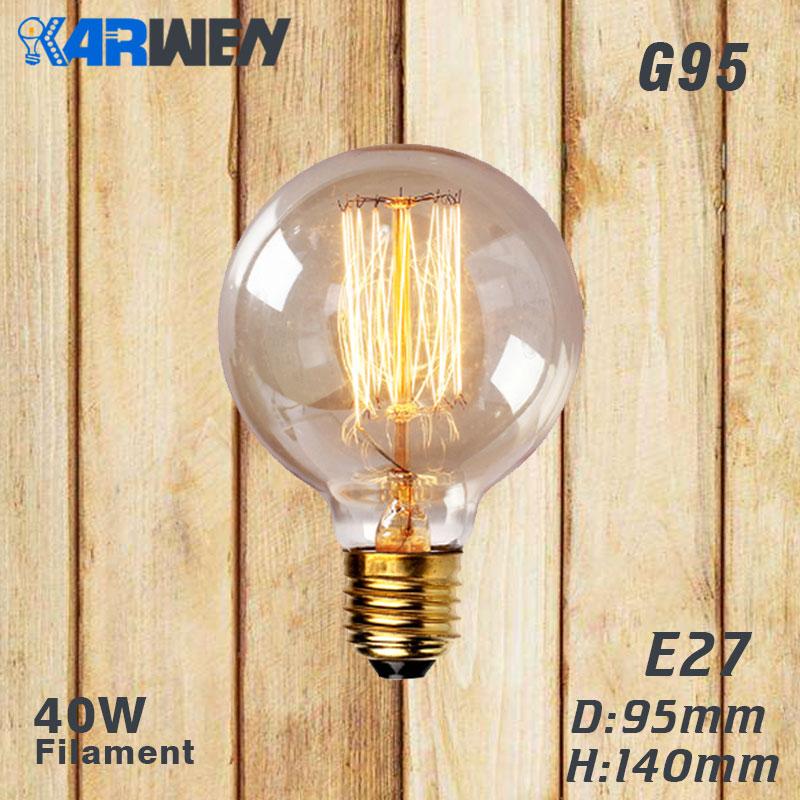 Эдисон лампы E27 40 Вт накаливания подвесной светильник в стиле ретро 220V ST64 A19 T45 T10 G80 G95 ампулы Винтаж лампа Эдисона лампа накаливания светильник лампочка - Цвет: G95 filament