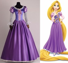 2017 la princesa rapunzel fancy dress adultos disfraces para halloween/fiesta tangled cosplay para las mujeres carnaval de encargo cualquier tamaño