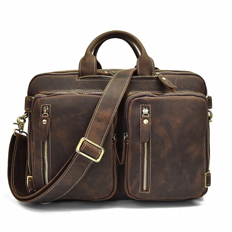 Mochila De cuero de alta calidad, mochila de cuero de vaca con cremallera doble, maletín de viaje para oficina, bolsos de hombro de doble uso, de cuero puro - 2