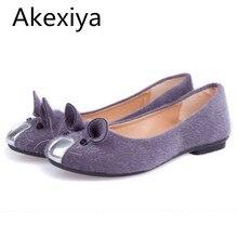 Akexiya chaud-vente mignon souris conception printemps et automne appartements pour les femmes chaussures simples de mode talon plat chaussures femmes appartements de